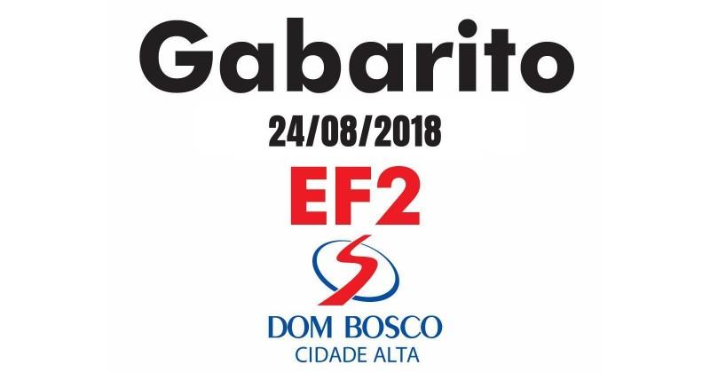 Gabarito Simulado 24/08/2018 - EF2 Dom Bosco Cidade Alta